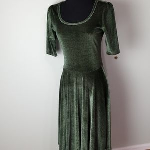Modest green velvet skater style dress